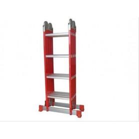 Escalera Multiproposito Aluminio Plegable Articulable Altura Maxima 4,7 Mts Roja