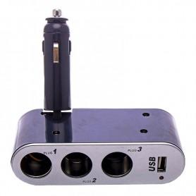 DUPLICADOR FICHA ENCENDEDOR 12V 3 TOMAS Y 1 USB 1AMP INCAR WF-0100