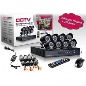 KIT SISTEMA SEGURIDAD DVR 8 CH + 8 CAMARAS EXTERIOR VISION NOCTURNA CCTV CABLES Y TRANSFORMADOR