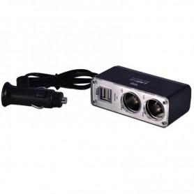 DUPLICADOR FICHA ENCENDEDOR 12V CON CABLE 2 TOMAS Y 2 USB 1AMP CHOGUS BM-003