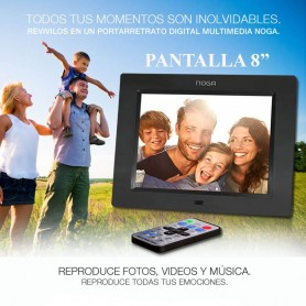 PORTRARETRATO DIGITAL MULTIMEDIA 8 PULGADAS NOGA NGP-8090NG USB SD PARLANTE RELOJ ALARMA Y CONTROL