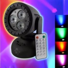 CABEZAL MOVIL 3 LED 6W RGB ROTATIVO AUDIORITMICO CONTROL PARLANTE SD USB DJ EFECTO