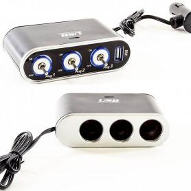 DUPLICADOR FICHA ENCENDEDOR 12V CON CABLE Y LLAVES CORTE 3 TOMAS Y 1 USB 1AMP WF-861