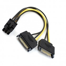 CABLE POWER 6 PIN A DOBLE SATA POWER PARA PLACA VIDEO