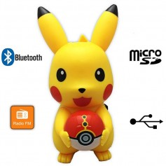 PARLANTE POKEMON GO PIKACHU POKEBOLA BLUETOOTH USB - MICRO SD - FM CON LUZ