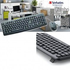 TECLADO Y MOUSE OPTICO USB VERBATIM 98111 CON CABLE