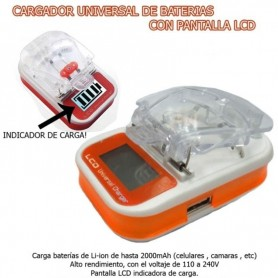 CARGADOR UNIVERSAL LCD DE BATERIAS DE CELULAR Y CAMARAS DE FOTO