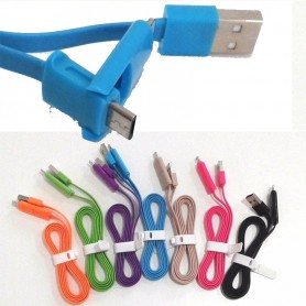 CABLE PLANO 2 EN 1 LIGHTNING Y MICRO USB 1 METRO IPHONE IPAD SAMSUNG COLORES