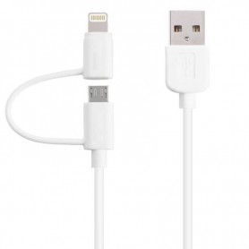 CABLE 2 EN 1 LIGHTNING Y MICRO USB 1.5 METRO CON FILTRO IPHONE IPAD SAMSUNG