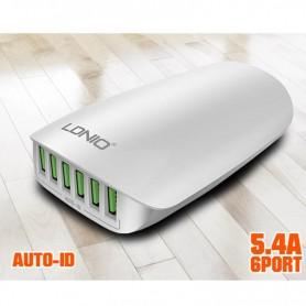 CARGADOR CELULAR 6 SALIDAS USB 5.4A 1.5M 220V LDNIO A6573