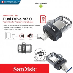 PEN DRIVE 16GB SANDISK DUAL DRIVE OTG MICRO USB Y USB 3.0