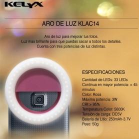 ARO DE LUZ LED PARA CELULARES KELYX KLAC14 ROSA