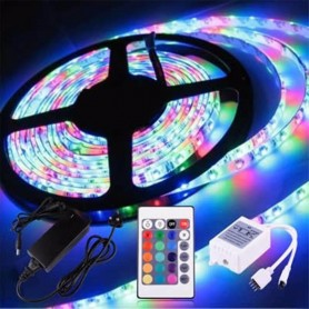 KIT TIRA LED RGB 5MTS EXTERIOR + CONTROL REMOTO + FUENTE ALIMENTACION 12V 2AMP