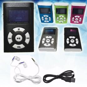 MP3 REPRODUCTOR CON FM RANURA MICRO SD + AURICULARES BATERIA RECARGABLE