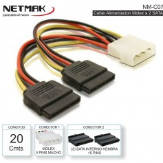 CABLE POWER SATA MOLEX A 2 SATA 20CM NETMAK NM-C07