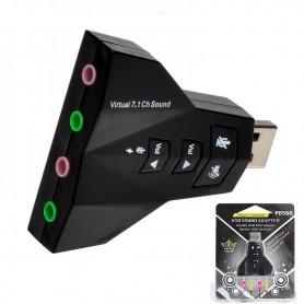 PLACA DE SONIDO USB DOBLE SALIDA Y ENTRADA 7.1 VIRTUAL DJ