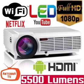 PROYECTOR LED 96+ FULL HD WIFI ANDROID 5500 LUMENES HDMI MIRACAST TV BLUETOOTH CONTROL REMOTO