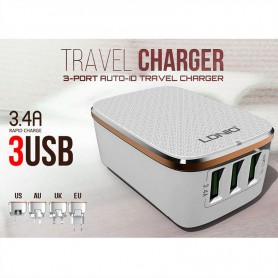 CARGADOR DE CELULAR 3 PUERTOS USB 3.4A LDNIO A3304