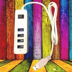 HUB USB 3.0 4 PUERTOS CON LLAVE PC MAC SOPORTA 2TB BLANCO