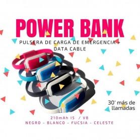 CARGADOR PULSERA POWER BANK EMERGENCIA MICRO USB 30 MINUTOS