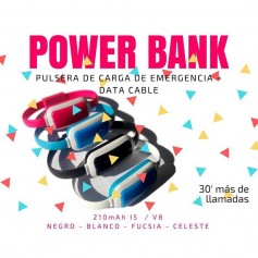 CARGADOR PULSERA POWER BANK EMERGENCIA MICRO USB 30 MINUTOS