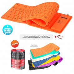 TECLADO ULTRA FLEXIBLE NARANJA LAVABLE KOLKE KT-103 SILICONA ENROLLABLE USB