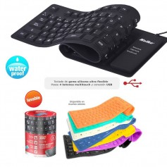 TECLADO ULTRA FLEXIBLE NEGRO LAVABLE KOLKE KT-103 SILICONA ENROLLABLE USB