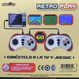 CONSOLA RETRO PLAY 8BIT 60 JUEGOS 2 JUGADORES SALIDA TV FAMILY GAME LEVEL UP SALIDA RCA