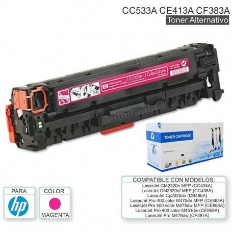 TONER ALTERNATIVO HP 305A CE413A CE413 MAGENTA PRO 400 COLOR M451DN M451DW M451NW M475DW M475DN LASERJET 300 COLOR MFP M375NW
