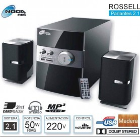 HOME THEATER 2.1 NOGA ROSSELL 50W BLUETOOTH MADERA PARLANTE TV BAJOS REFORZADOS