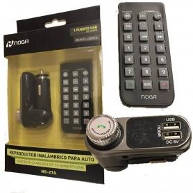TRANSMISOR FM PARA AUTO MP3 SD USB CONTROL CARGADOR 2A NOGA NG-27A NEW 2017