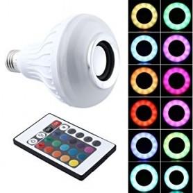 LAMPARA DE LED RGB CON PARLANTE BLUETOOTH CONTROL REMOTO ROSCA E27