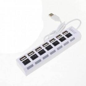 HUB USB 2.0 7 PUERTOS CON CORTE INDIVIDUAL JPK-638 BLANCO