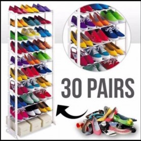 MUEBLE ORGANIZADOR DE ZAPATOS 30 PARES SHOE RACK VARILLAS EXTENSIBLES METALICAS