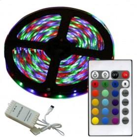 KIT TIRA DE LED RGB 5MTS LED 5050 CON CONTROLADORA Y CONTROL REMOTO