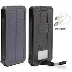 POWER BANK SOLAR 20000mAh CON LINTERNA SUPERVIVENCIA POLIMERO DE LITIO
