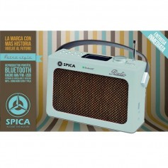 RADIO DISEÑO RETRO CELESTE AM Y FM BLUETOOTH USB SPICA SP-219C VINTAGE