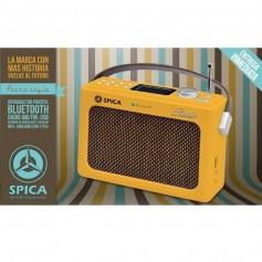 Radio Spica Diseño Retro Amarilla Am Y Fm Bluetooth Usb Sp-219R Vintage Outlet Sin Bateria (Solo Enchufada)