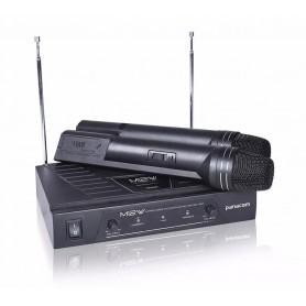MICROFONO INALAMBRICO DOBLE PANACOM MC-9712W IDEAL KARAOKE VHF