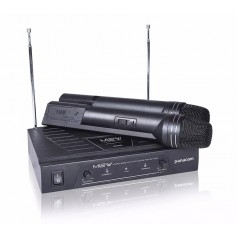 MICROFONO INALAMBRICO DOBLE PANACOM MC-9712W IDEAL KARAOKE VHF