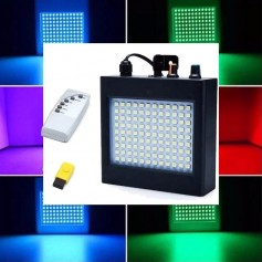 FLASH ESTROBOSCOPICO AUDIORRITMICO RGB CON PARLANTE 108 LED CONTROL REMOTO USB