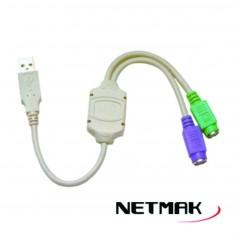 ADAPTADOR USB A 2 PS2 NETMAK NM-C08