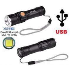 LINTERNA LED RECARGABLE X USB CON ZOOM