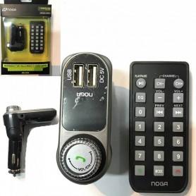 TRANSMISOR FM PARA AUTO MP3 MICROSD USB BLUETOOTH CON CONTROL CARGADOR 2A NOGA NG-27A V2