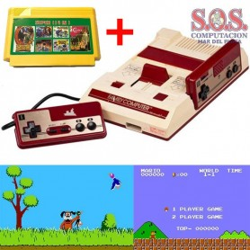 FAMILY GAME CONSOLA RETRO 8 BIT MARIO BROS + 2 JOYSTICK + CARTUCHO 114 EN 1
