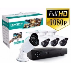 KIT 4 CAMARAS SEGURIDAD FULL HD 1080 + DVR 4 CANALES + CABLES Y TRANSFORMADOR