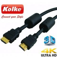 CABLE HDMI KOLKE 3 MTS NEGRO KC131 1.4V CON DOS FILTROS NEGROS