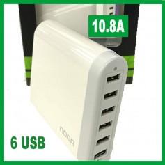 CARGADOR RAPIDO USB 6 SALIDAS 10.83A NOGA NG-360 ZAPATILLA USB
