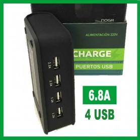 CARGADOR USB 4 SALIDAS 6.8A NOGA NG-660