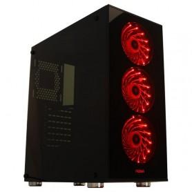 GABINETE PC GAMER VIDRIO KIT NOGA NG-8608 CON FUENTE 600W COOLER COLOR ROJO USB 3.0
